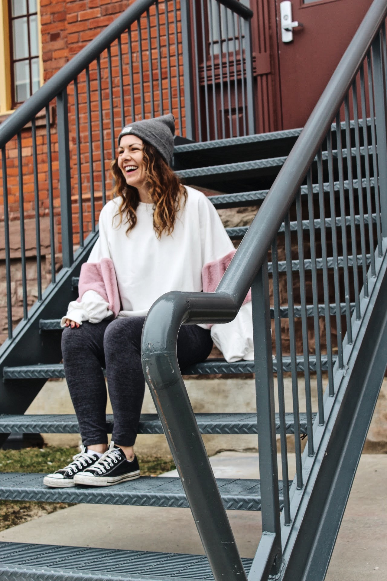 campus street style, fashion humber, fashion students, Zara top, J Crew Leggings, Penfield Beanie, Converse, Meaghan Dorion