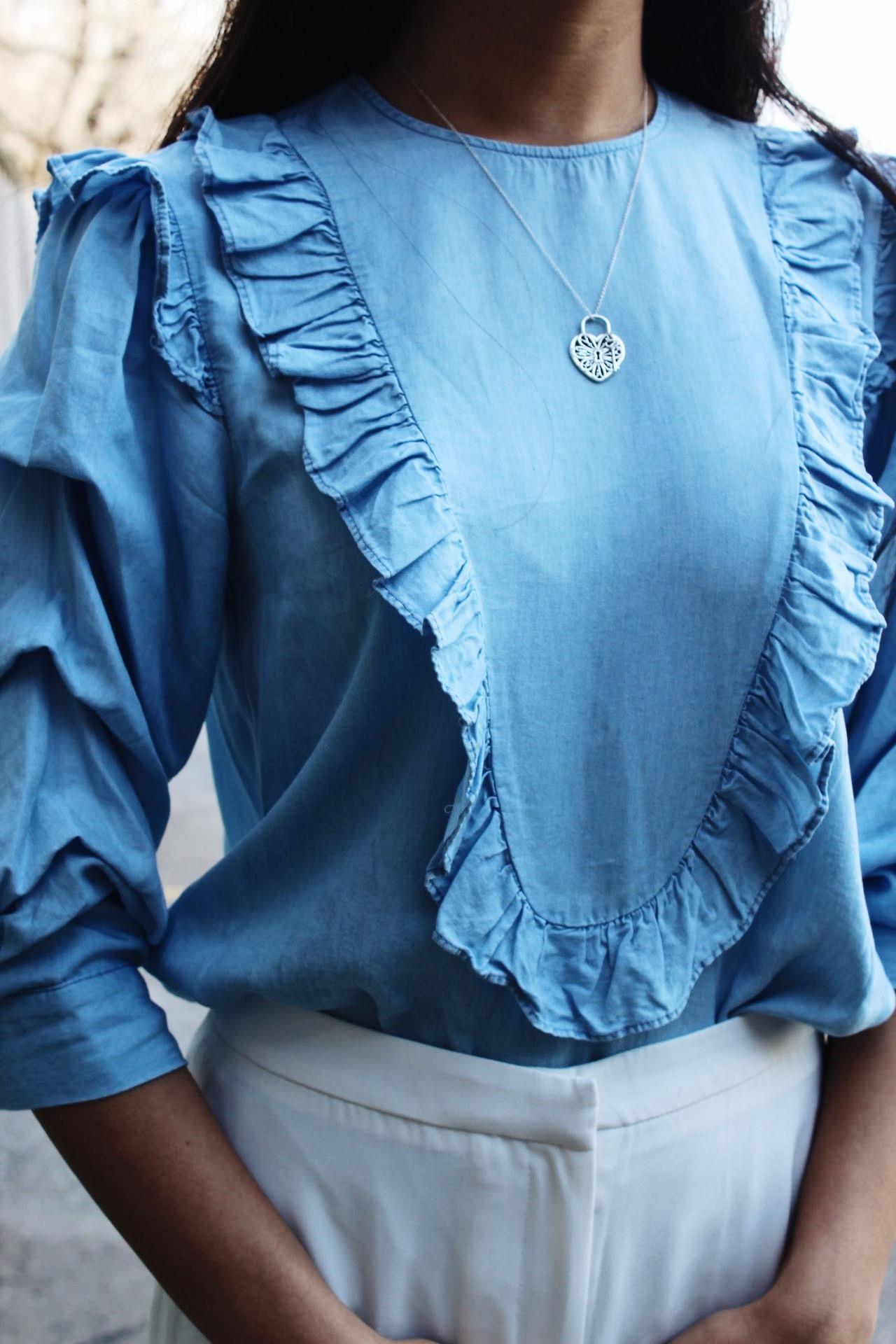 Nicole, Tiffany & Co necklace, blue ruffle shirt, FashionHumber, Campus street style, fashion, student, Humber College
