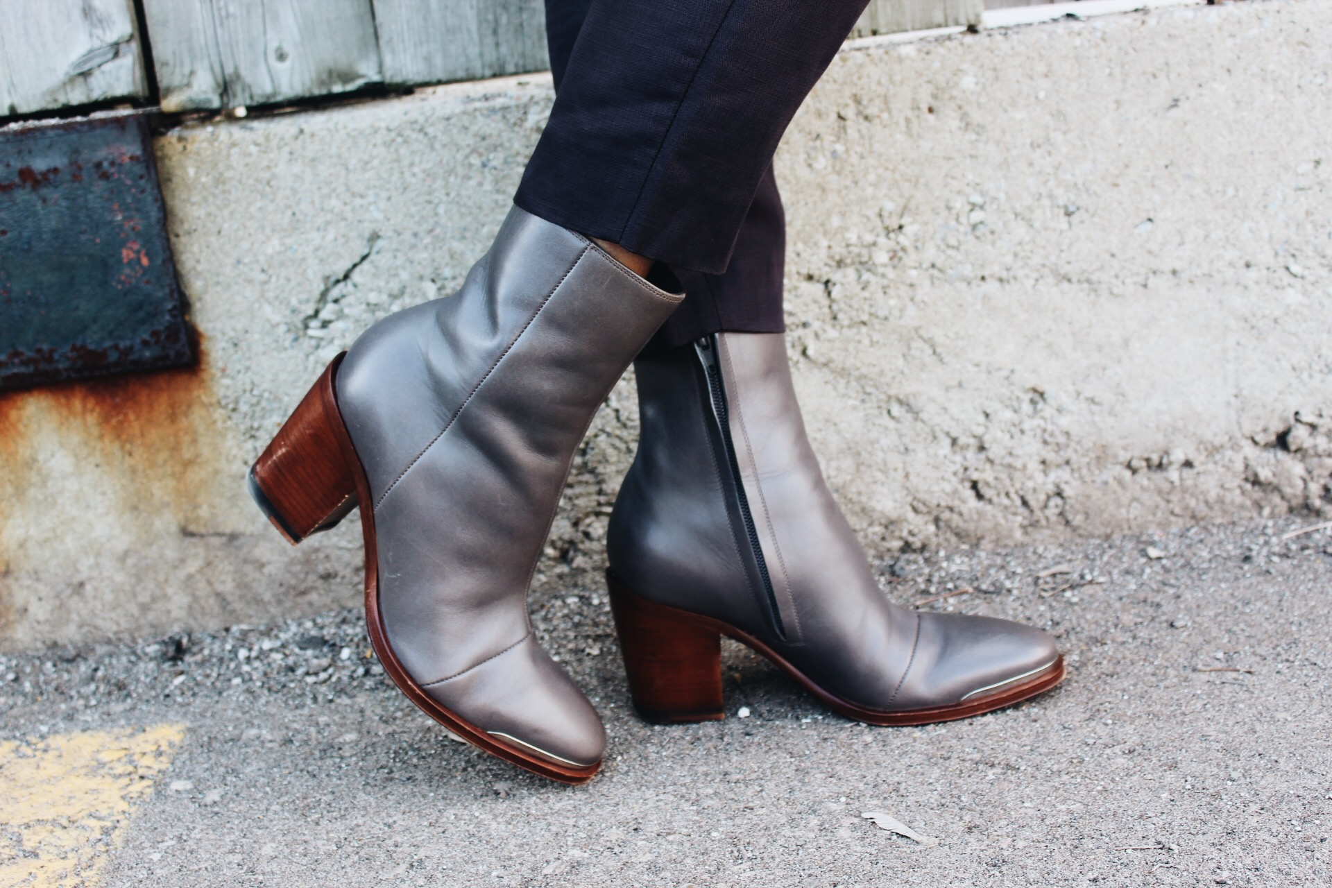 Grey, Celine, ankle boots, brown heel, silver, ankle, boots, fashion,humber, student, street wear, Campus street style, 2017